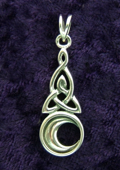 Silver Celtic Trinity Knot Crescent Moon Pendant