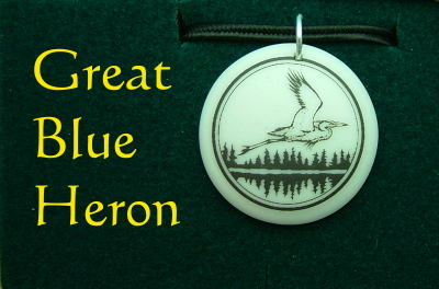 Great Blue Heron Jewelry Porcelain Pendant